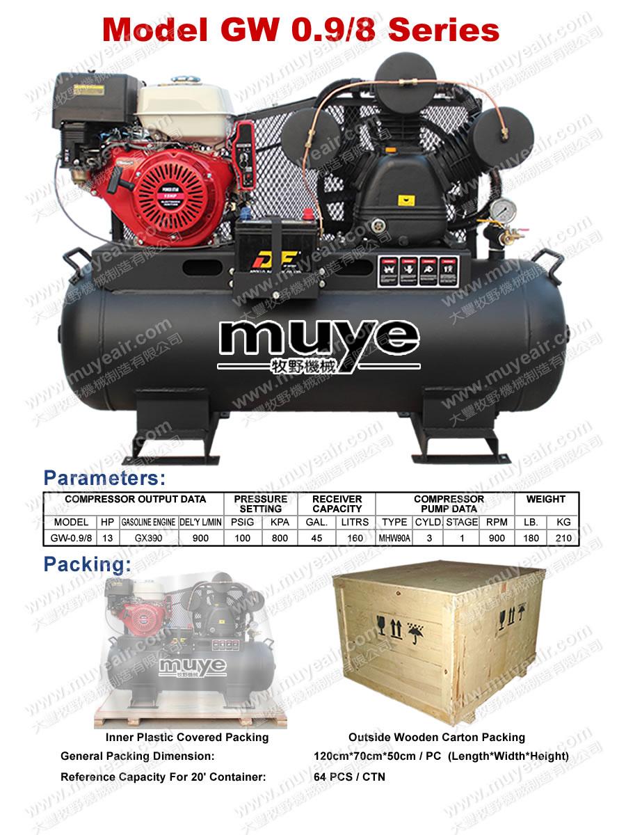 Common air compressor piston type model gw0 9 8 for Piston type air motor